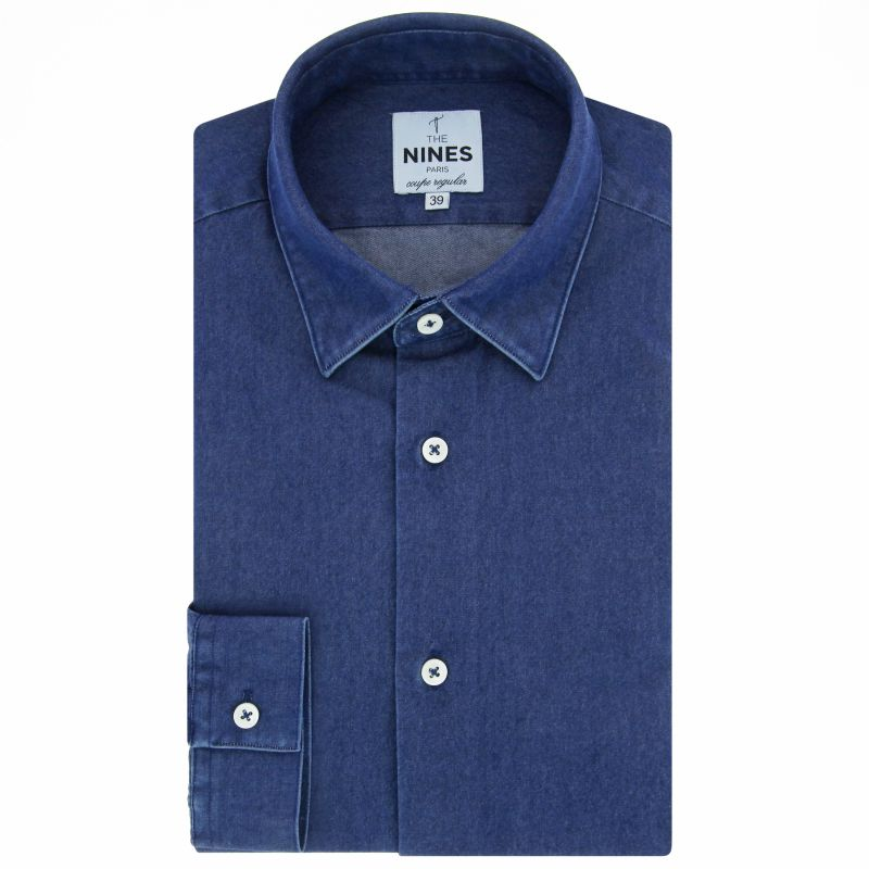 blaues denim hemd mit japanischer kragen regular fit. Black Bedroom Furniture Sets. Home Design Ideas