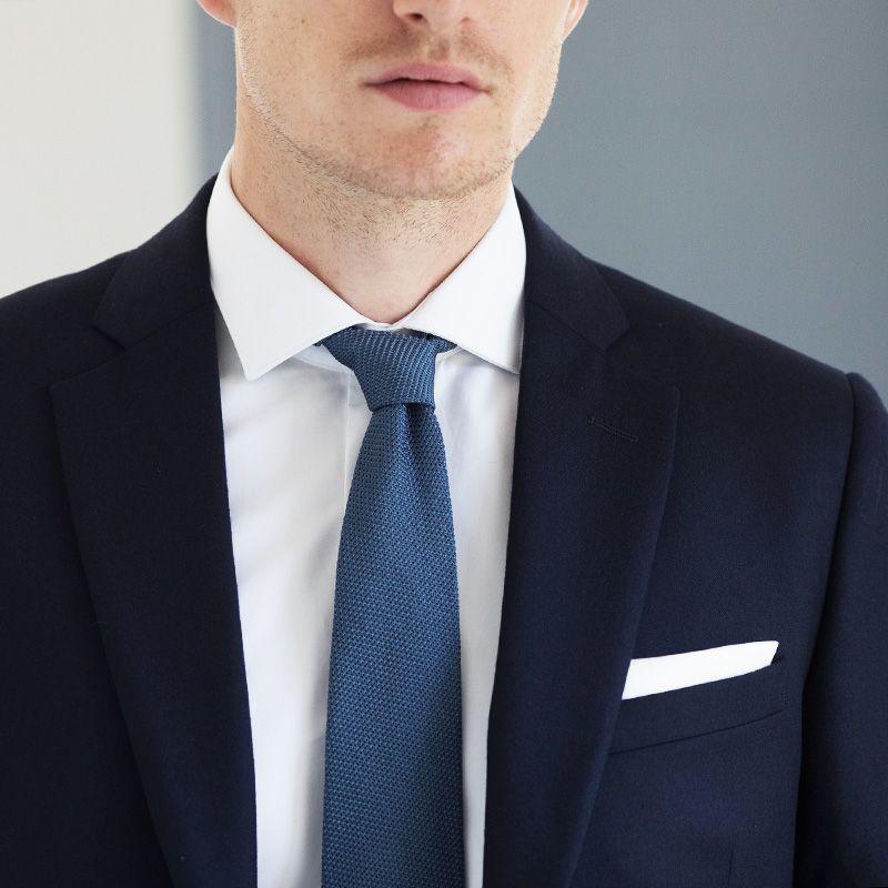 Stahlblaue Krawatte Grenadineseide - Das Krawattenhaus