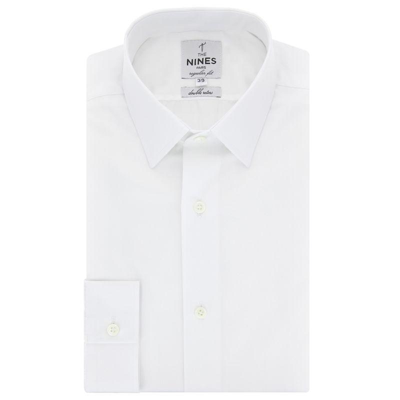 Chemise blanche col japonais regular fit