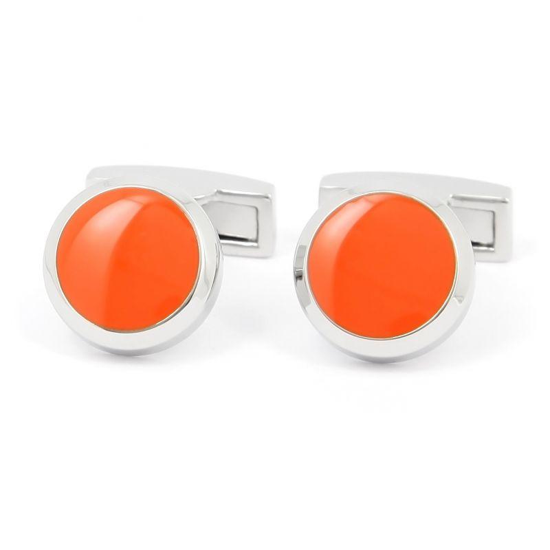 Runde orangene Manschettenknöpfe - Montreux II