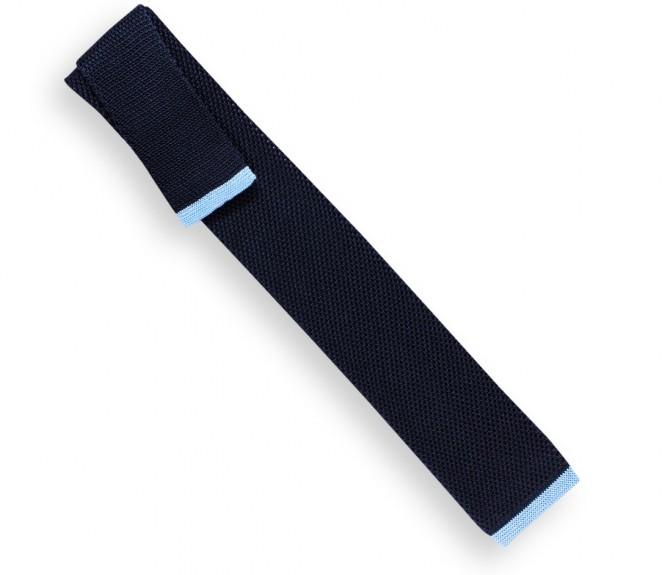 Marineblaue Krawatte mit hellblaue Ende aus gestricker Seide - Monza II