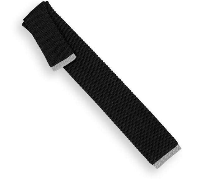 Anthrazitgraue Krawatte mit hellgraue Ende aus gestricker Seide - Monza II
