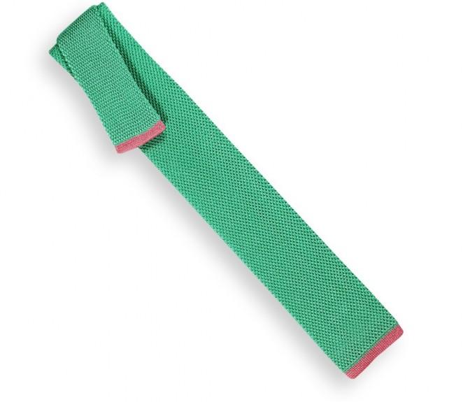 Minzgrüne Strickkrawatte mit rosa Ende - Monza II