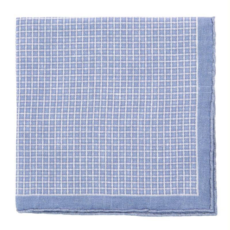 Weißes Einstecktuch mit hellblauen Quadraten - The Nines
