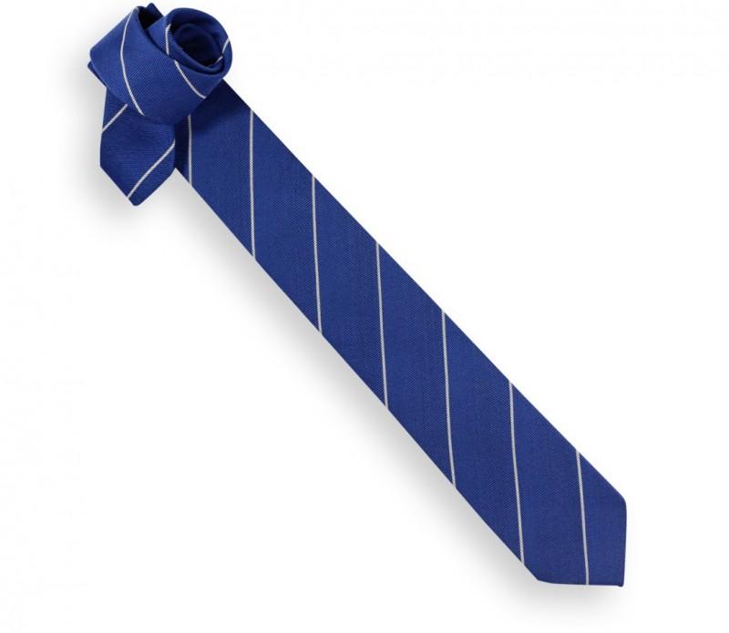 Blaue Wolle und Seide Schmale Krawatte mit grauen Streifen - Stamford