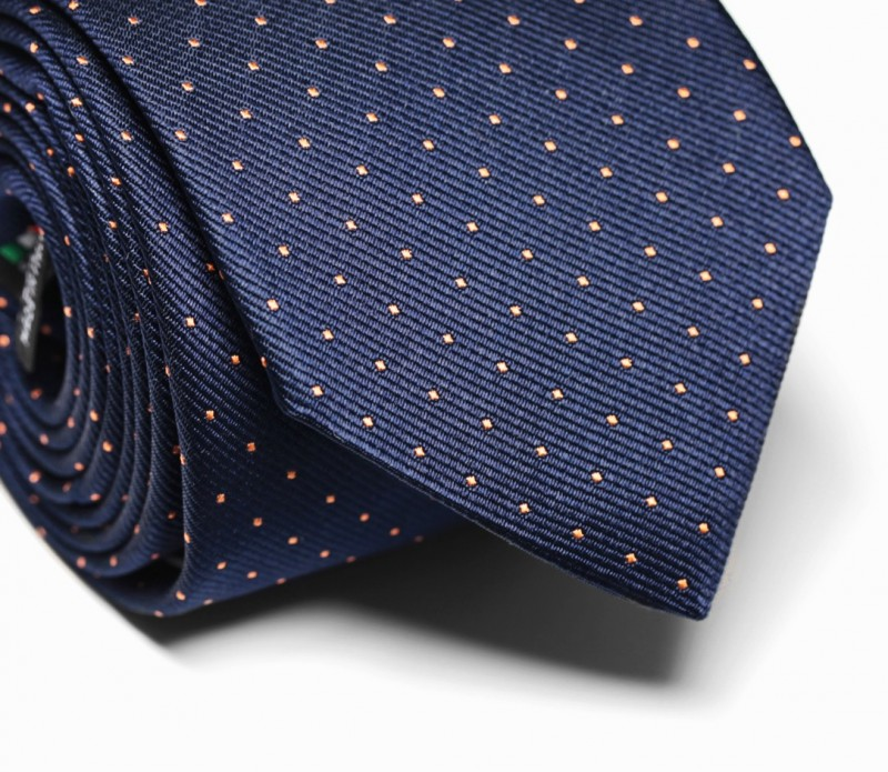 Marineblau-orange gepunktete Krawatte - Washington II