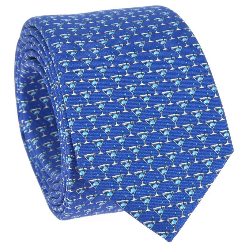 Blaue Krawatte mit hellblauen Cocktail-Muster aus bedruckter Seide