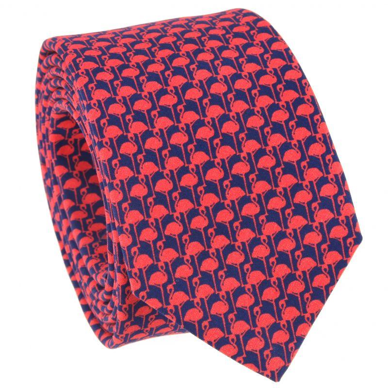 Rote Krawatte mit Flamingo-Muster aus bedruckter Seide