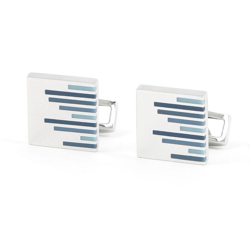 Quadrat Manschettenpnöpfe mit blauen Streifen - Saint-Briac