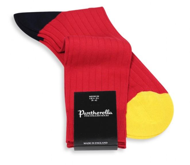 Chaussettes Pantherella rouge en fil d'Ecosse
