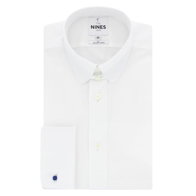Weißes Umschlagmanschetten-Hemd mit abgerundetem Tab-Kragen