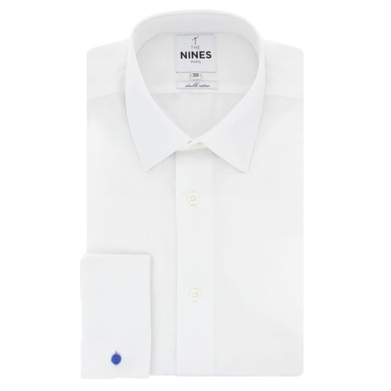 Weißes Umschlagmanschetten-Hemd mit Japanischem Kragen