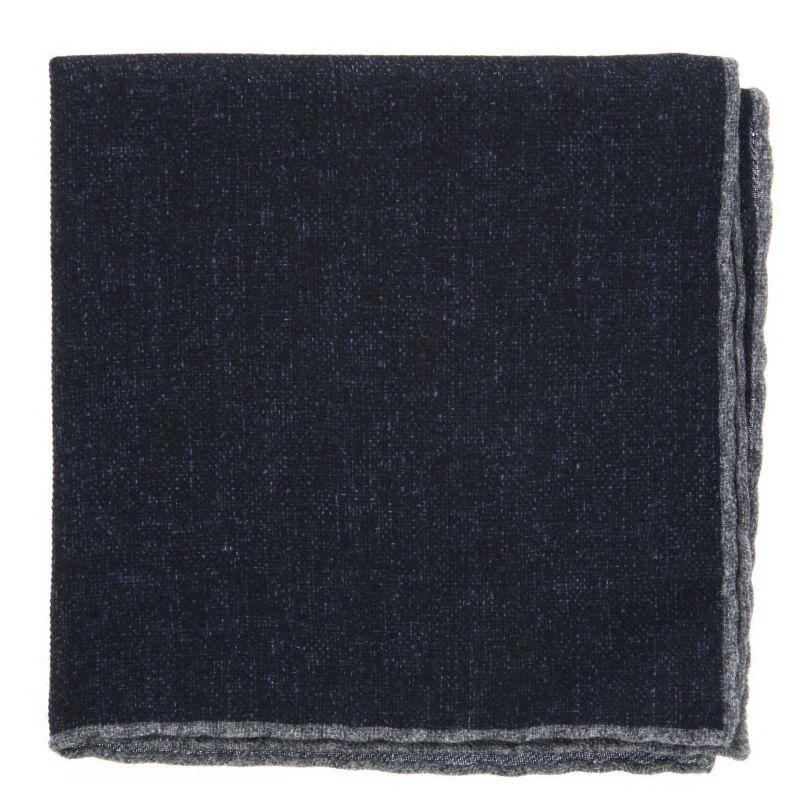 Navyblaues Einstecktuch mit grauen Säumen aus Wolle