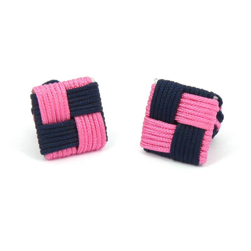 Marineblau-rosa, quadratische Seidenknoten - Manila