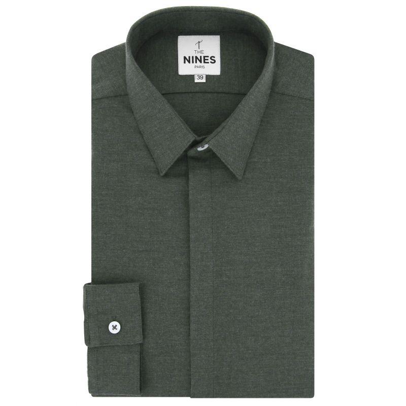 Khakigrünes Flanell Hemd mit Französischem Kragen