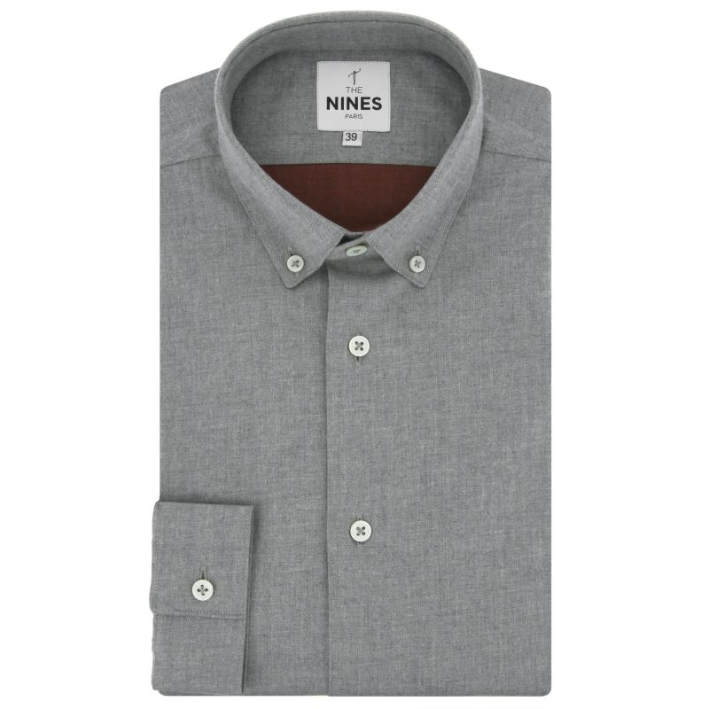 Graues Flanell Hemd mit Button-Down-Kragen