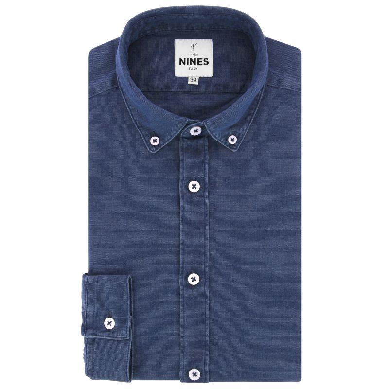 Blaues Chambray Hemd mit Button-Down-Kragen