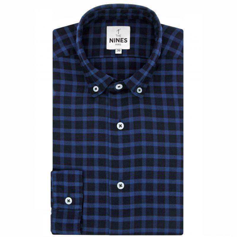 Blaues Schottenmuster Flanell Hemd mit Button-Down-Kragen