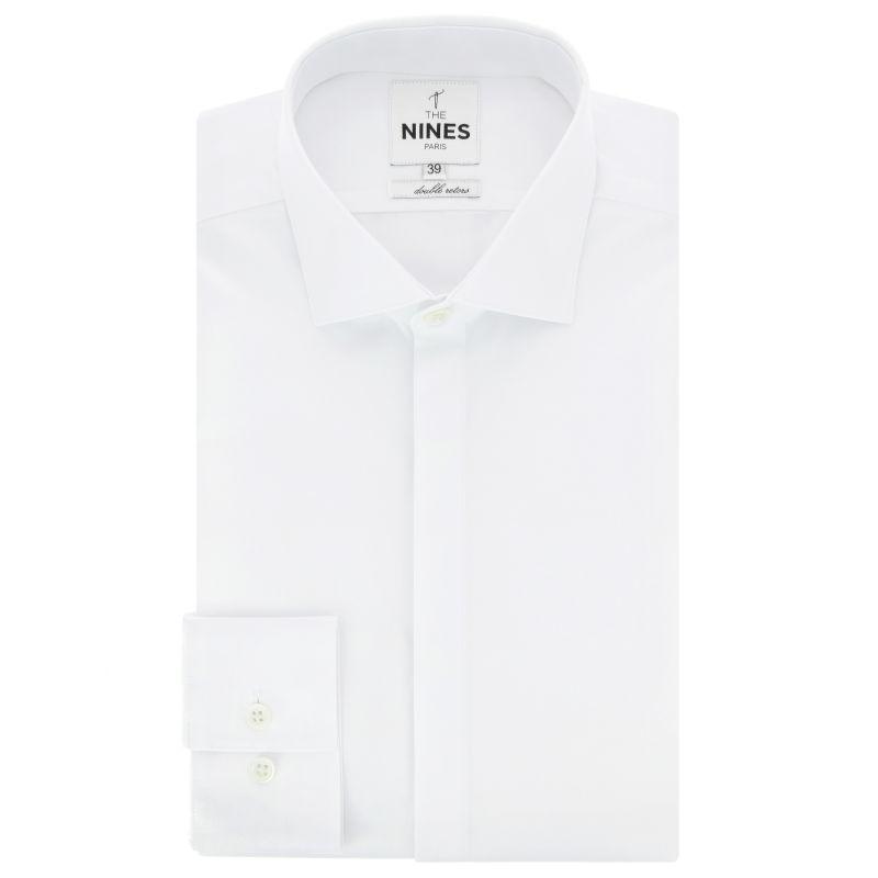 Weisses Popeline Hemd mit Haifischkragen und verdeckter Knopfleiste