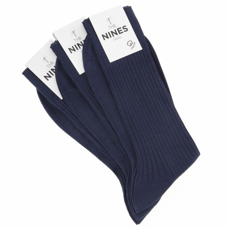 3er-Pack nachtblauer Socken aus Bio Nil-Baumwolle