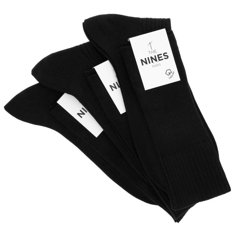3er-Pack schwarzer Kniesocken aus Bio Nil-Baumwolle