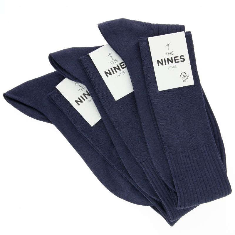 3er-Pack nachtblauer Kniesocken aus Bio Nil-Baumwolle