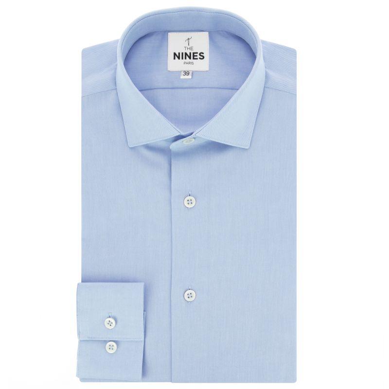 Hellblaues Biobaumwolle Oxford Hemd mit Haifischkragen
