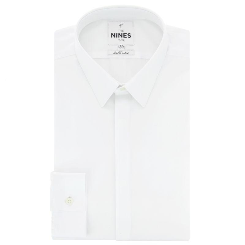 Weisses Popeline Hemd mit Französischem Kragen