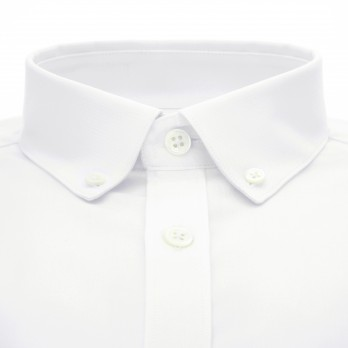 Weisses Biobaumwolle Oxford Hemd mit Button-Down-Kragen