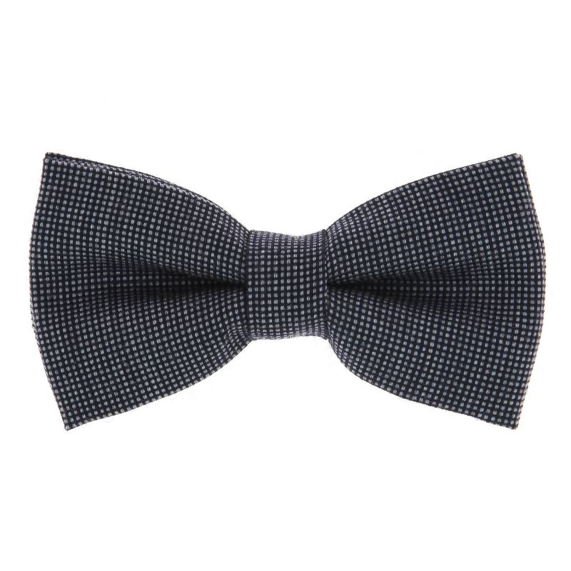Navyblaue Und Graue Fliege mit Faux-uni Muster aus Wolle und Seide