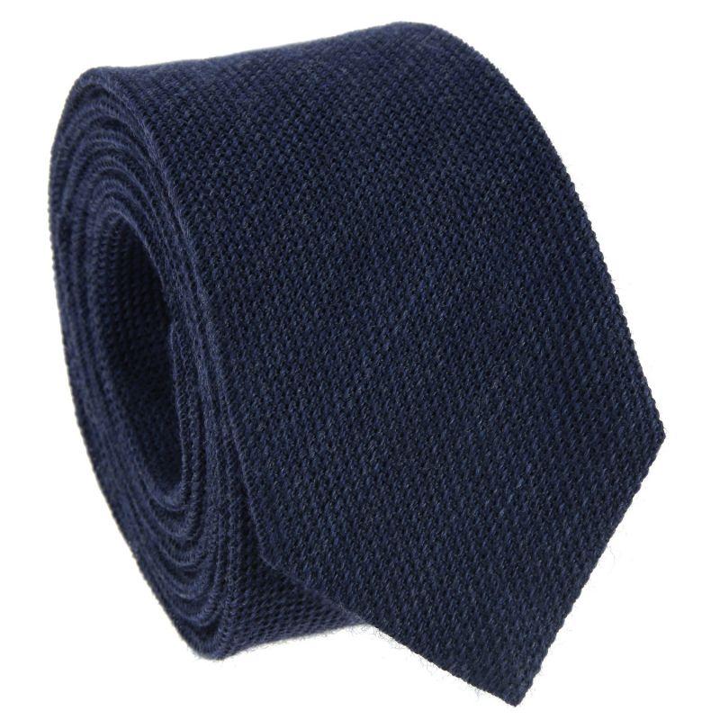 Navyblaue Krawatte aus Grenadinenseide und Wolle