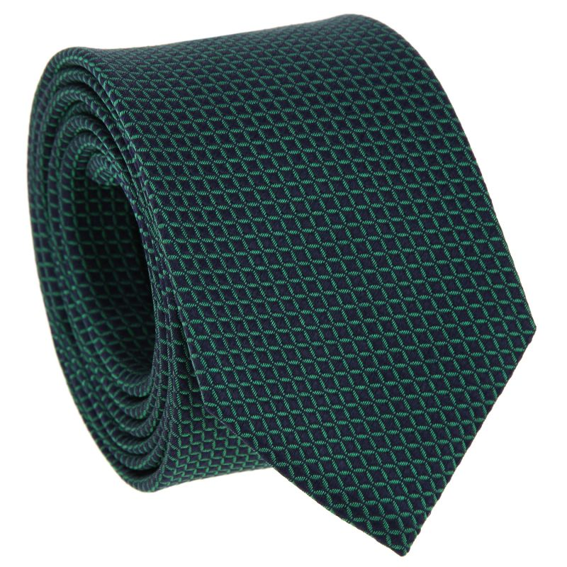 Navyblaue Krawatte mit grünen Quadraten aus Seide - Arizona