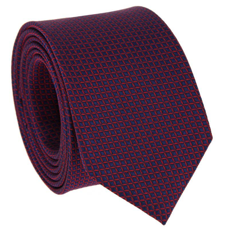 Navyblaue Krawatte mit roten Quadraten aus Seide - Arizona