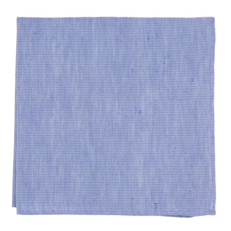 Blaues Einstecktuch aus geflochtener Leinen und Seide - Bergame