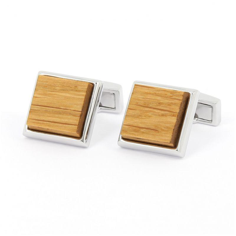 Quadratische Manschettenknöpfe aus Eichenholz - Messing