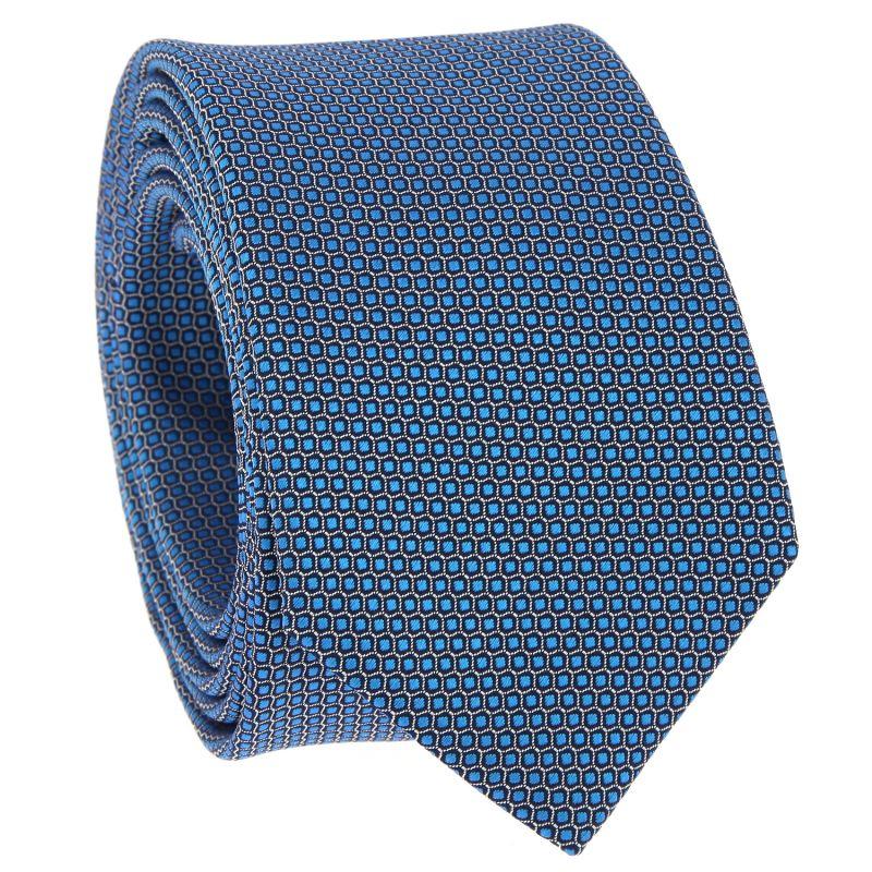 Petrolgrüne Krawatte mit Wabenmuster aus Jacquardseide