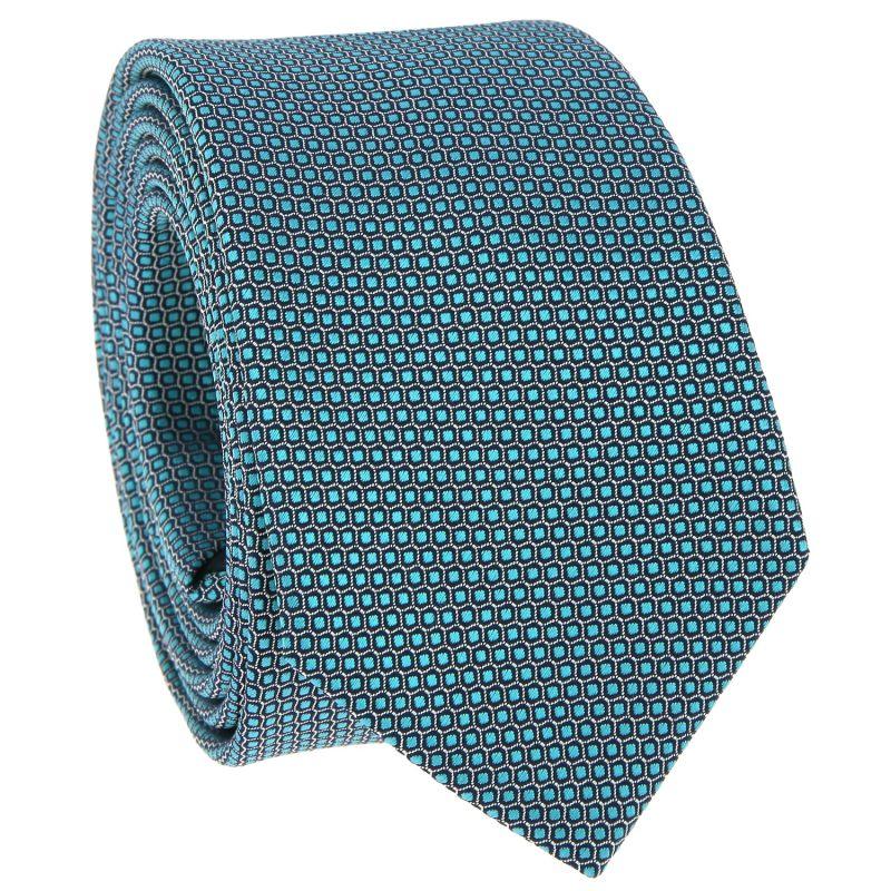 Grüne Krawatte mit Wabenmuster aus Jacquardseide