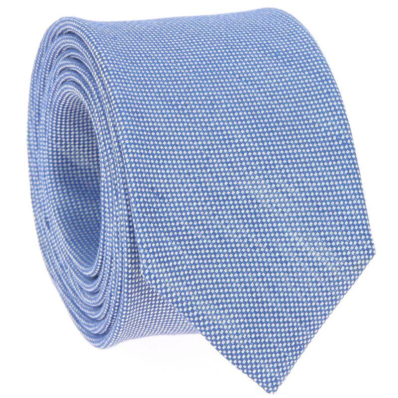 Himmelblaue Krawatte aus geflochtener Leinen und Seide