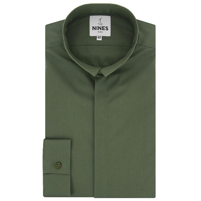 Khakigrünes Popeline Hemd mit Umkehrkragen