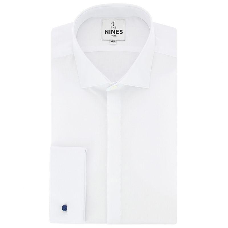Weisses geflochtenem Oxford Umschlagsmanschetten-Hemd mit Haifischkragen