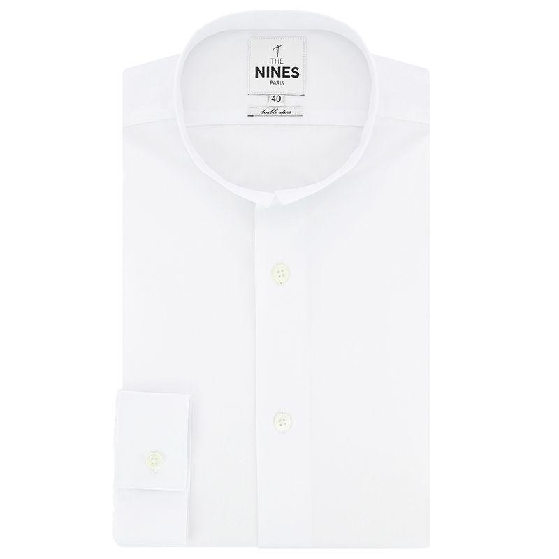 Weisses Popeline Hemd mit Kleiner Umkehrkragen