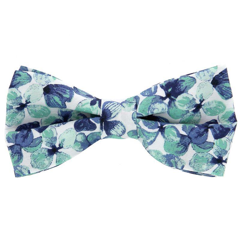 Fliege mit navyblauen und wassergrünen Blumen aus Liberty-Stoffe