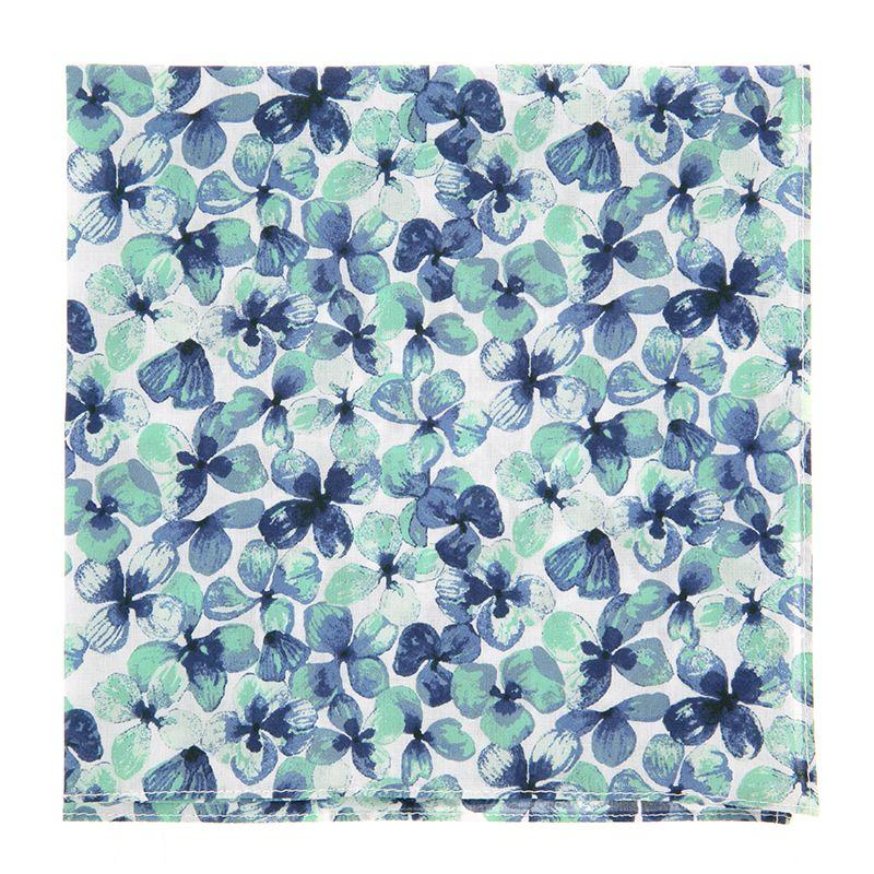 Einstecktuch mit navyblauen und wassergrünen Blumen aus Liberty-Stoffe