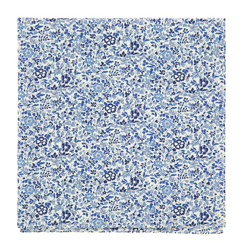 Blaues Einstecktuch mit Blumen aus Liberty-Stoffe