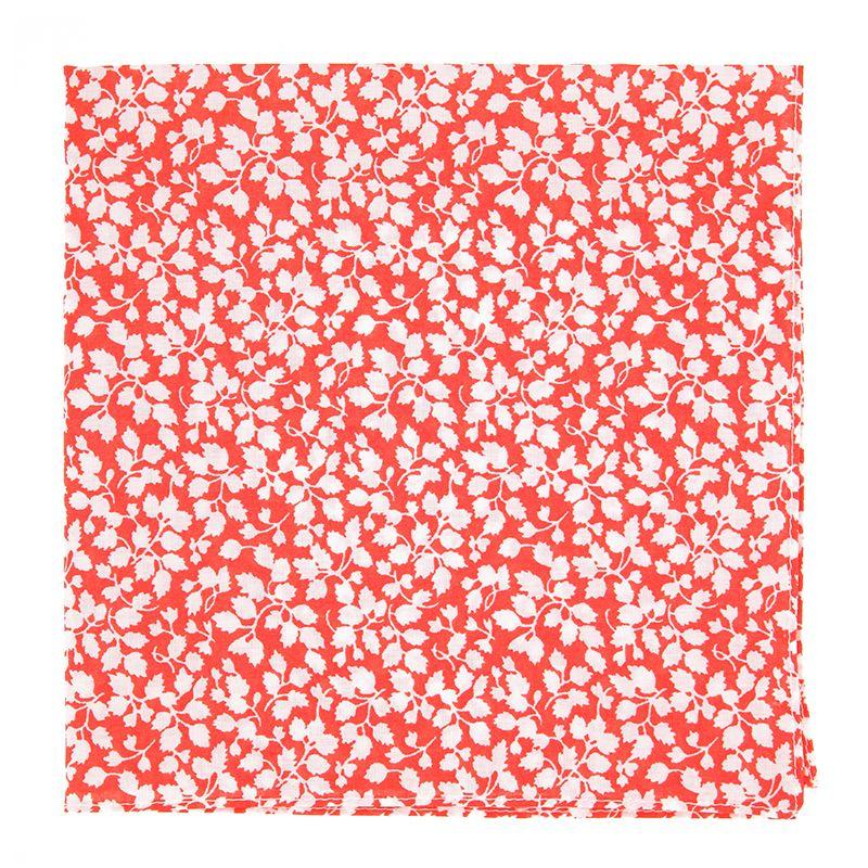 Korallenfarbenes Einstecktuch mit weissen Blumen aus Liberty-Stoffe