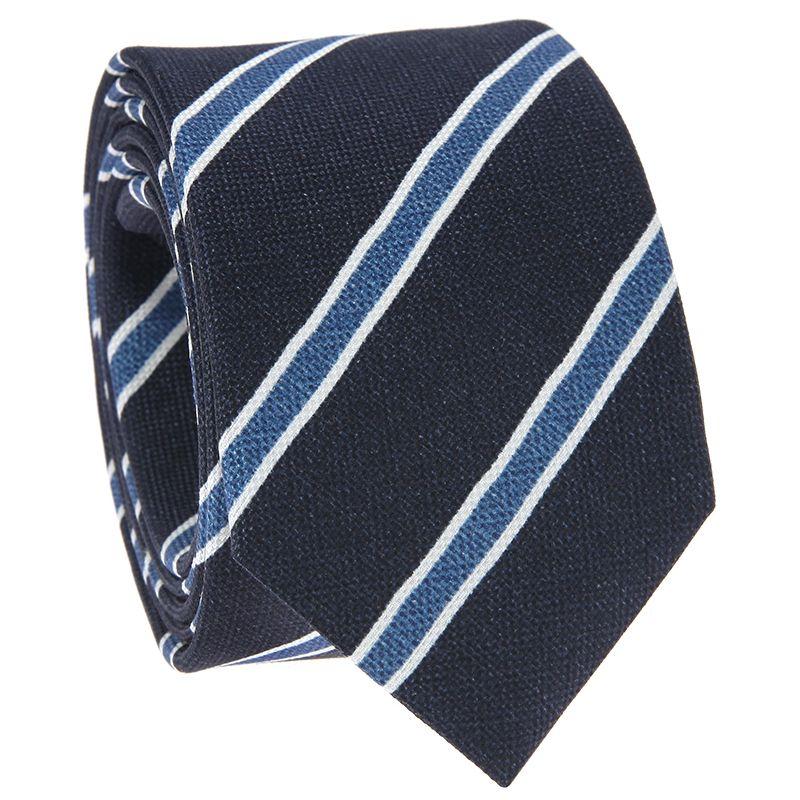 Navyblaue Krawatte mit blauen und weißen Streifen aus bedruckter Seide