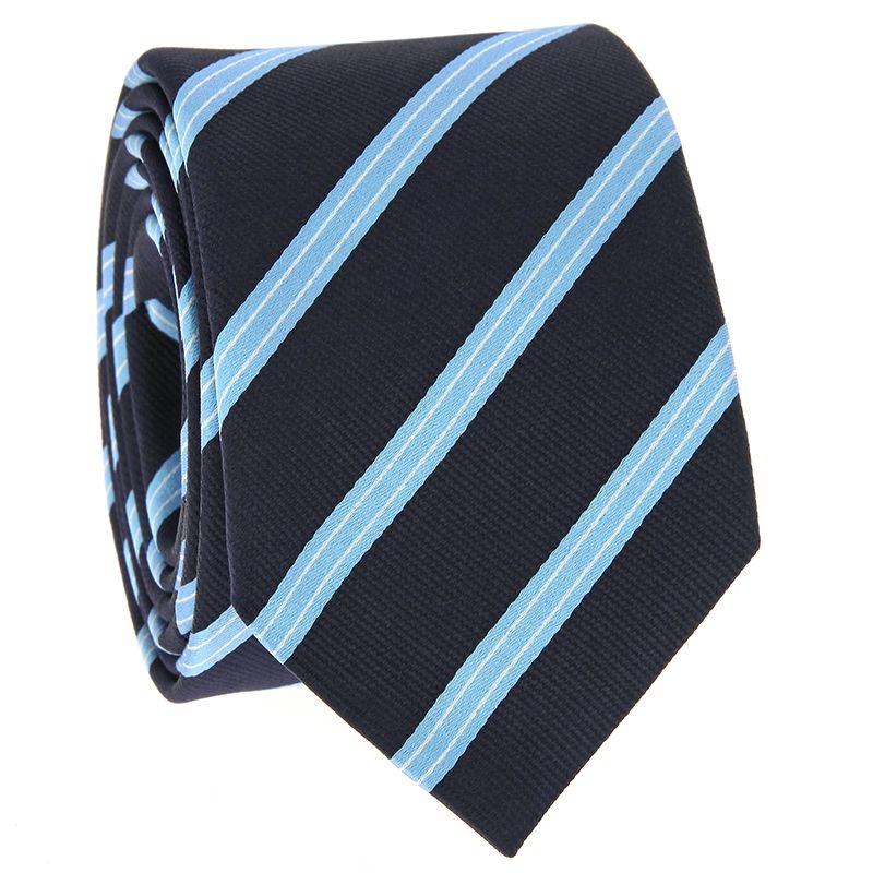 Navyblaue Krawatte mit hellblauen und weißen Streifen aus Seide