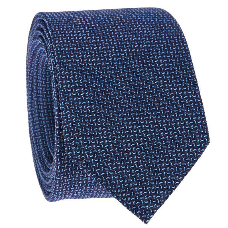 Krawatte mit marineblauen und himmelblauen Jacquard-Muster aus Seide
