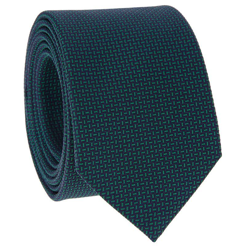 Krawatte mit navyblauen und grünen Jacquard-Muster aus Seide