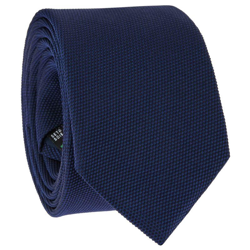 Navyblaue Krawatte aus geflochtener Seide